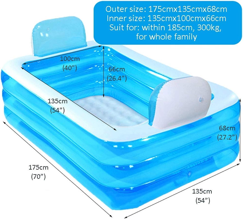 PPBathtub Blaue Farbaufblasbare Badewanne Kunststoff Tragbare Faltbare Badewanne Trnken Badewanne Home SPA Bad Auszustatten mit elektrischer Luftpumpe (gre   180cm)