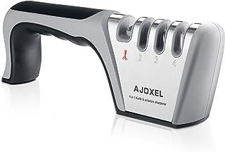 AJOXEL Aiguiseur Couteaux Professionnel, 4-en-1 Aiguiseur de Cuisine Affuteur Couteau et Ciseaux, Knife Sharpener avec Gom...