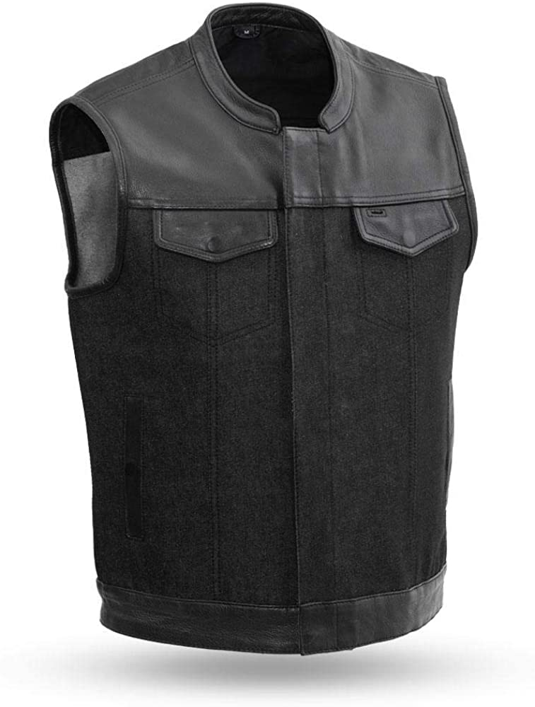 First MFG Co.- 49/51 - Men's Motorcycle Denim/Leather Vest  Men's Leather Vest for Motorcycle