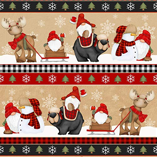 Timber Gnomies Gnome Chirstmas Fabric by Shelly Comiskey from Henry Glass 100% Cotton Quilt Fabric 9275-89 Stripe