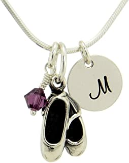 925 Sterling Silver Ballet Shoes Slippers Pendant Custom Hand Stamped Initial Letter Round Tag Crystal Birthstone Charm Snake Chain Necklace