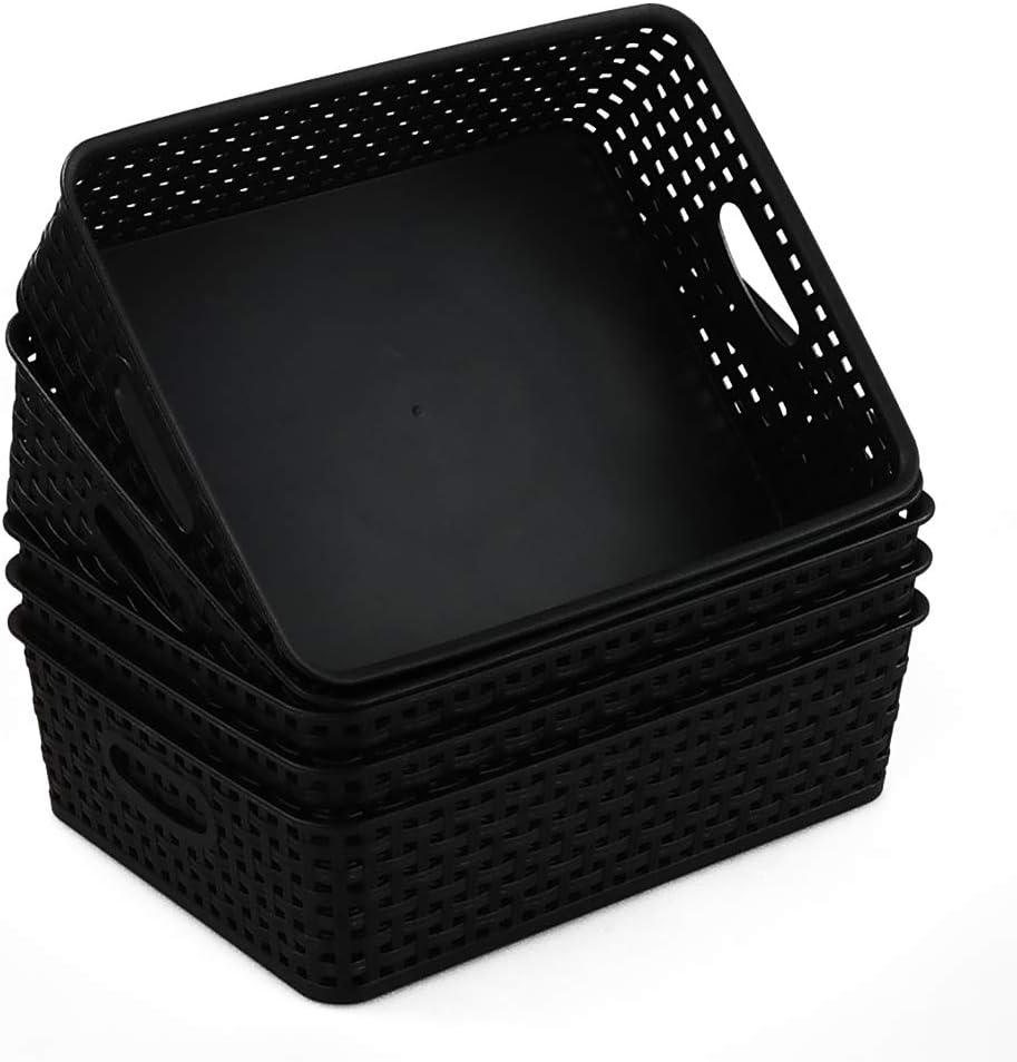 Qqbine Black Plastic Office A4 Basket Tray, Desk Tray Organizer,