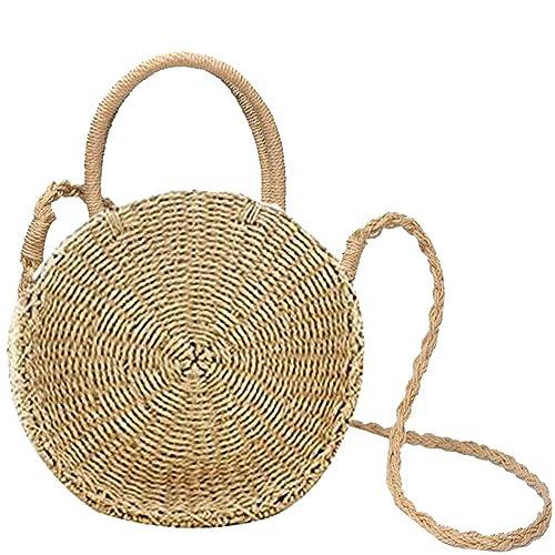 Donalworld Women Beach Bag Round Straw Crochet Shoulder Summer Bag Purse