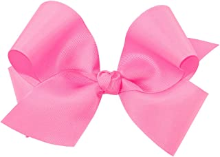 Wee Ones Baby Girls' King Classic Grosgrain Hair Bow on a WeeStay Clip w/Knot Wrap Center