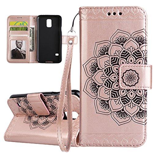 ISAKEN Compatibile con Samsung Galaxy S5 Custodia Cover, Libro PU Pelle Wallet Cover Flip Portafoglio Protezione Custodia con Supporto di Stand/Carte Slot/Strap[Shock-Absorption], Fiori: Rose Gold