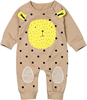 RCPATERN Baby Boy Clothes Newborn Fall Outfits Long Sleeve Funny Lion Print Romper One-Piece Bodysuit Overall Jumpsuit