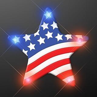 Light Up US Flag Star Flashing Blinking LED Body Light Lapel Pins (5-Pack)