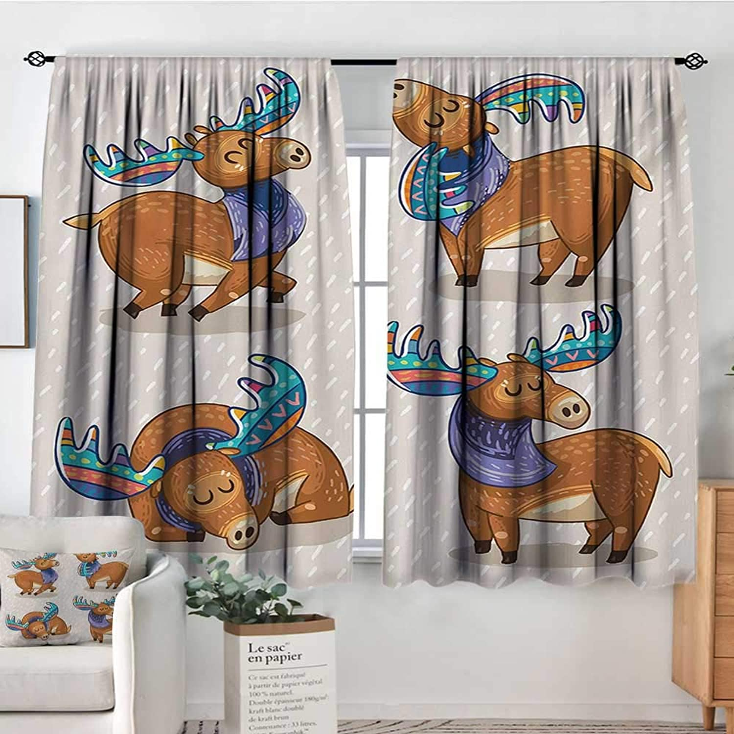 Curtains for Living Room Moose,Kids Cartoon Inspired Cute Elks with Antlers Friendly Nursery Kids Theme Artwork,Multicolor,Decor Collection Thermal Room Darkening Window Curtains 55 x45