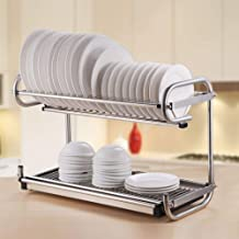 Kitchen Storage Rack Stainless Steel Double-Layer Dish Rack - Countertop/Wall-Mounted Dual for Kitchen, Storage