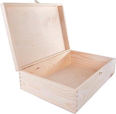 WooDeeDoo - Cajas rectangulares de Pino con Cierre, Madera, Natural, 35 x 25 x 10 cm: Amazon.es: Hogar