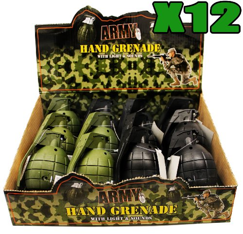 12 x TOY HAND GRENADES WITH REALISTIC SOUND & LIGHT IN GREEN AND BLACK IN...