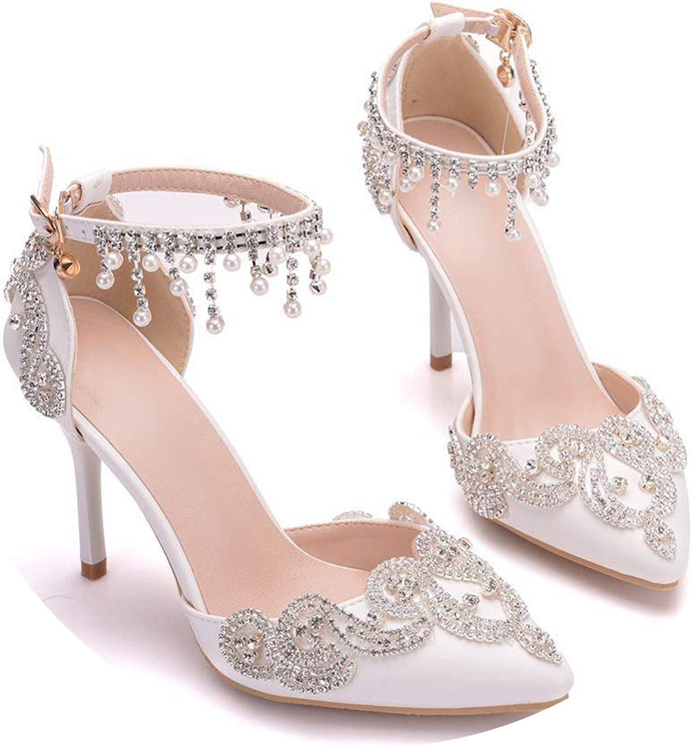 Sunny Doll 2019 Women High Heels Pumps Crystal Pearl White Wedding shoes Cutout Tassel Ankle Strap Ladies shoes