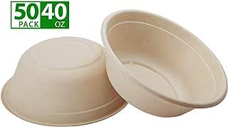 ZenCo Bagasse Eco Bowl - 50 Pack 40oz (5 Cups) Extra Large Beige Disposable Natural Sugarcane Heat Resistant Eco Friendly Paper Alternative Bowls (50 Count, 40oz)