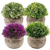 VINFUTUR 4pcs Plantas Artificiales Decorativas Flores con Maceta Falsa Plantas Adornos para Decoración Mesa Hogar Oficina Baño Cocina Balcón