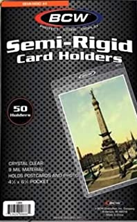 BCW Semi Rigid Card Holder No. 4, 50 Holders Per Pack, 4 1/2 inch x 7 1/8 inch