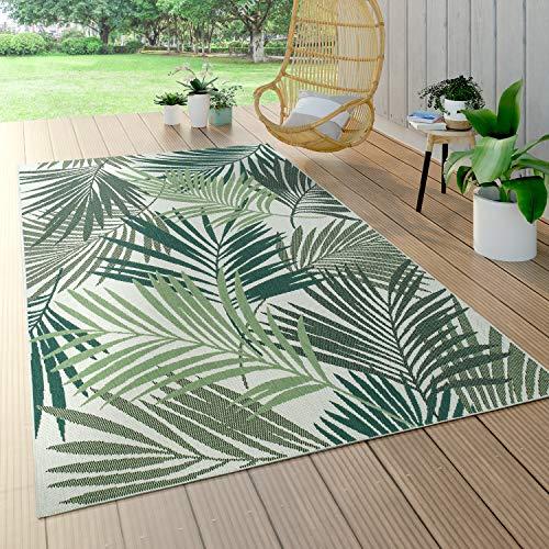 Alfombra Interior Y Exterior De Tejido Plano Jungla Diseño Floral Palmeras Tallado Verde, tamaño:100x200 cm