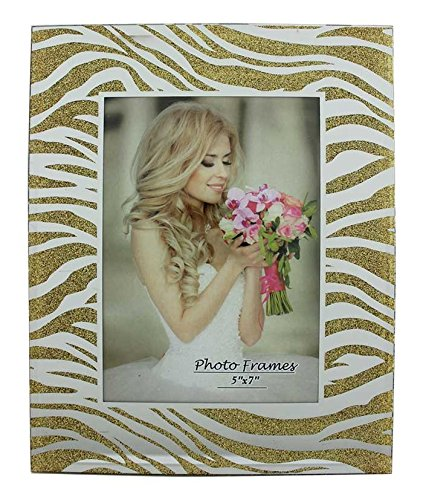 Party Plus 4 Less Glass Picture Frame Zebra with Mirror and Gold Glitter 5x7