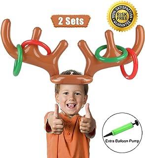 Anillo inflable de la cornamenta de renos Juego de lanzamiento Juego de la despedida de la fiesta navideña para la familia Niños Juegos divertidos de Navidad de la oficina (2 astas 8 anillos) por Proa