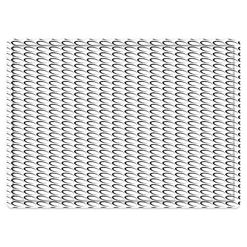 Alfombra de baño Antideslizante 50X80cm,Blanco y Negro, patrón mínimo con Formas ovaladas inclinadas Contornos elípticos alargados, blancAlfombrilla Lavable a máquina con absorción de Agua Blanda