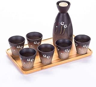 LTLWSH Juego de Sake de 4 Piezas de Gres, Conjunto Tradicional Japonés con 1 Botella de Sake 2 Sake Cups y Bandeja, Estilo Japonés, Mejor Regalo de Cumpleaños, Navidad, San Valentín,B