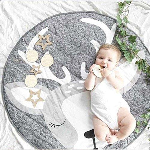 Nordic Ideas Tapis de Jeu Bebe Animaux Cerf Coton Rond Tapis éveil Bébé Fille Garçon Decoration Chambre Enfant