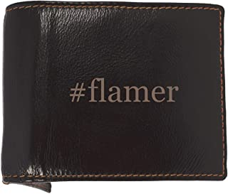 #flamer - Soft Hashtag Cowhide Genuine Engraved Bifold Leather Wallet