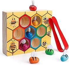 Coogam Juguete para niños pequeños con habilidades motoras finas, Abrazadera de abeja a colmena Juego de combinaciones, Color de madera Montessori Puzzle de clasificación, Aprendizaje temprano Juguete