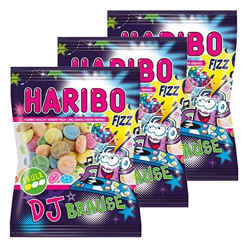 Haribo Dj Brause, 3er Pack, Gummibärchen, Weingummi, Fruchtgummi, Im Beutel, Tüte