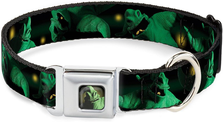 BuckleDown Seatbelt Buckle Dog Collar  Oogie Boogie 4Poses Black Yellow Green  1.5  Wide  Fits 1623 Neck  Medium