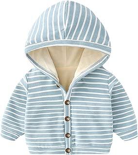 Arystk Winter Toddler Baby Boy Girls Coat Hooded Long Sleeve Striped Windproof Outwear