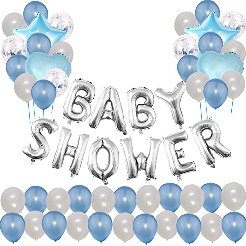 Toupons Baby Shower Party Decorations Balloons For Boy Blue Letter Balloon