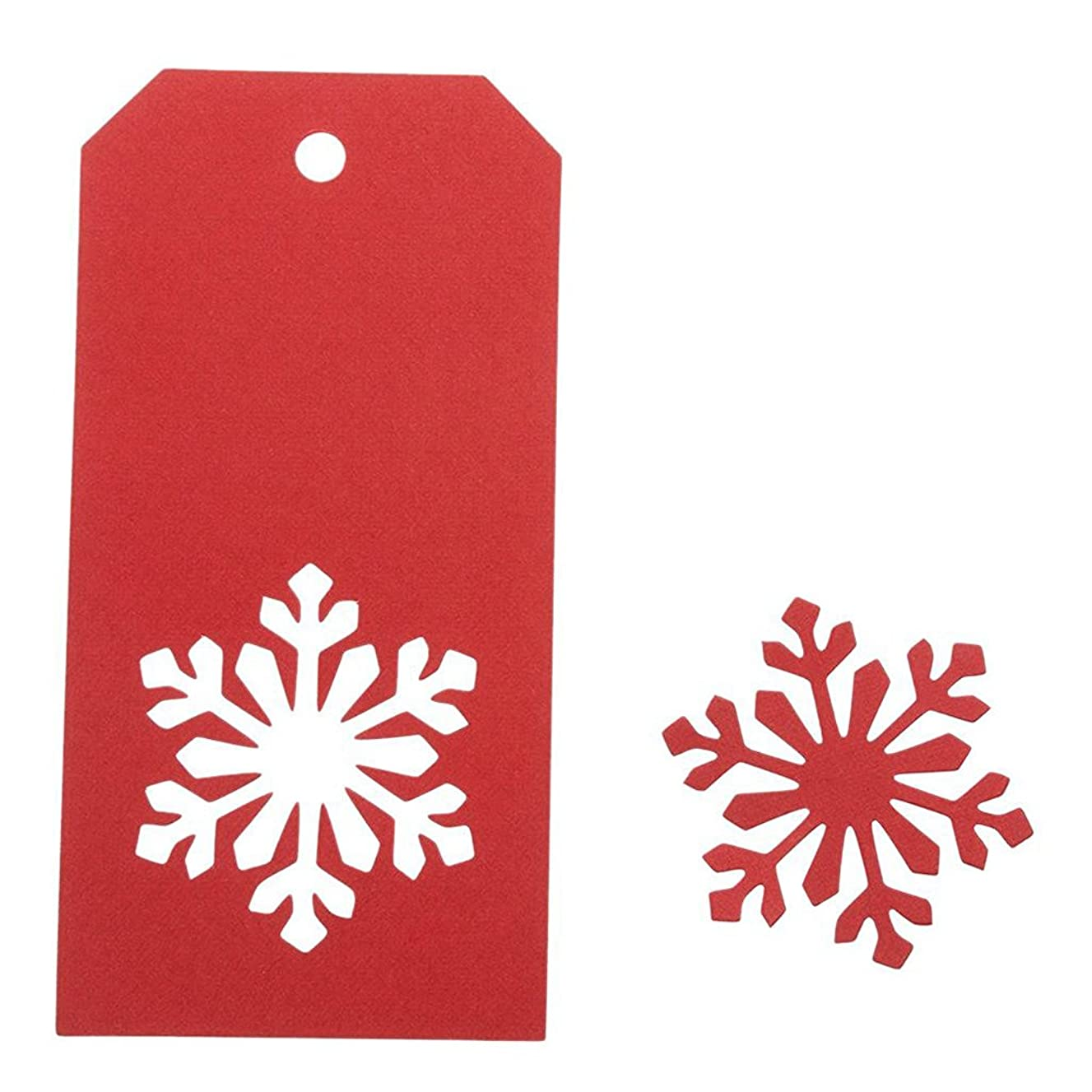 100 PCS Kraft Paper Price Tags Labels Christmas Gift Tags Christmas Snowflake Hanging Tag with String Rectangle Craft Hang Tags Favor Gift Tags Red