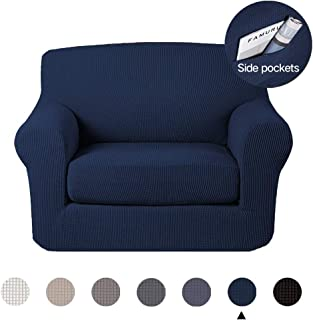 Marchtex Living Room Stretch Chair Slipcovers, Sofa Covers, 2 Pieces Furniture Protector, Polyester Spandex Jacquard Fabric Small Checks (Chair, Navy)