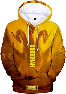 Boy Novelty Hoodie 3D Printed with Godzilla 2 King of Monsters Hooded Pullover Sweatshirt Unisex