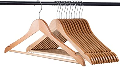 Home-it 30 Pack Natural Wood Solid Wood Clothes Hangers, Coat Hanger, Wooden Hangers
