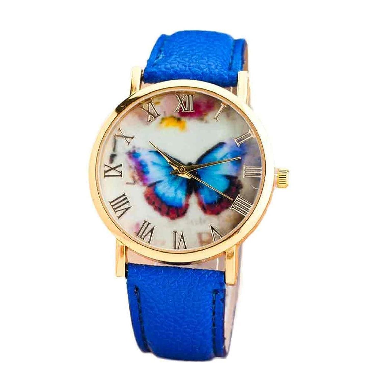 Women Girls Analog Quartz Watches with Leather Band Cuekondy Fashion Butterfly Style Business Dress Wrist Watch Bracelet (Blue)