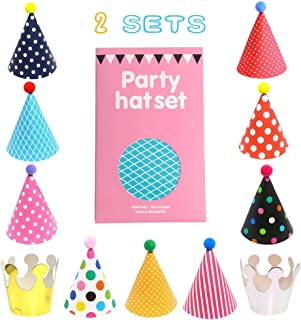 SBYURE 22 Pack Party Hats Assorted Colors Fun Cone Birthday Party Hats Crown Hats for Children Pets and Adults.2 Sets