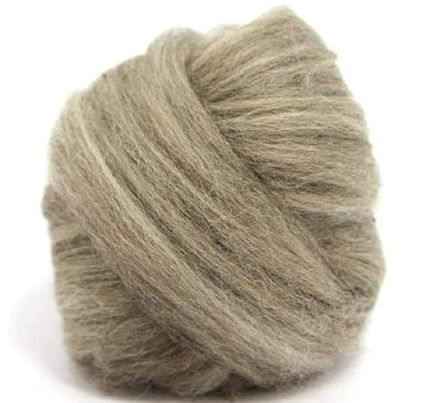 4 oz Paradise Fibers Blue Faced Leicester Roving - Oatmeal (Gray) - Perfect for Woolen Yarn & Needle Felting