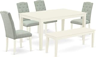 CACE6-LWH-15 6Pc Dining Set Includes a Rectangle Dinette Table and Four Parson Chairs with Baby Blue Fabric and a Bench, Linen White Finish