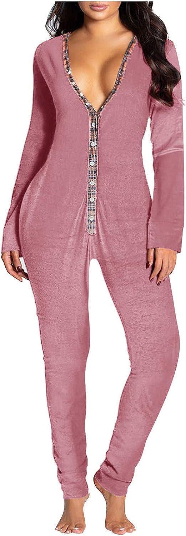 VonVonCo Lingerie for Women Button-Down V-Neck Pure Color One Piece Functional Buttoned Flap Adults Bodysuit Patch Jumpsuit