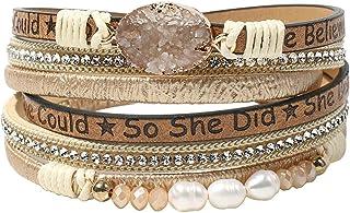 سوار جلدي لف للنساء - سوار إسورة بمشبك يدوي مع خرز لؤلؤ كريستال أساور مجوهرات هدية للأخوات، بنات في سن المراهقة والأم