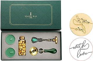 JasCherry Kit Cachets de Cire, Complet Kit de Joint de Cire avec Bougie Sceau Cuillère, Cires Adhésives Vintage pour Lettr...