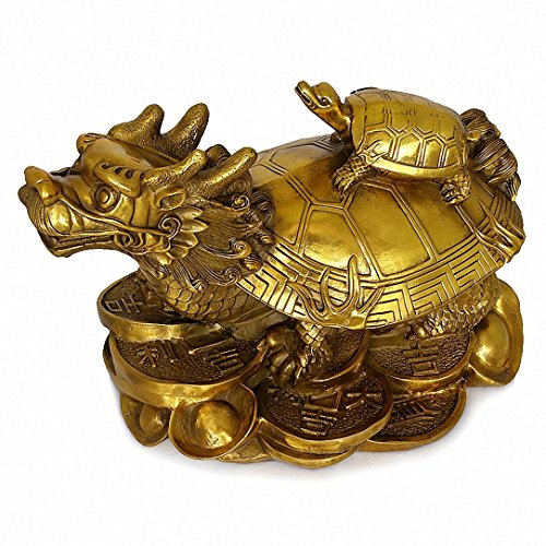 Wenmily Feng Shui Wealth Prosperity Brass Dragon Turtle...