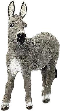 GoldCistern 3.7inch Donkey Figurine Toy, Farm Animal Toys, Farm Donkey Foal Educational Figurine, Collectible Animal Art Hand
