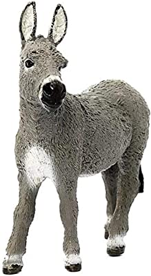 GoldCistern 3.7inch Donkey Figurine Toy, Farm Animal Toys, Farm Donkey Foal Educational Figurine, Collectible Animal Art Hand Made and Painted Table Decor for Gifts and Souvenirs