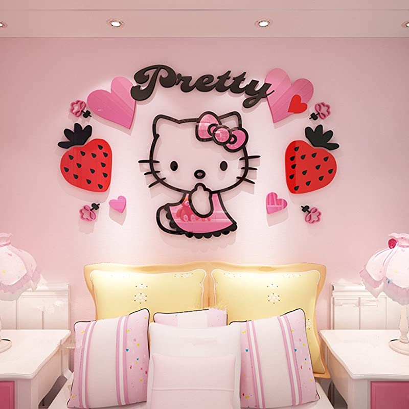 YOURNELO Kid S Decorative Cute Cartoon Hellokitty Livingroom Waterproof PMMA 3D Stereo Wall Sticker Peel Stick Wall Art C Pink X Large