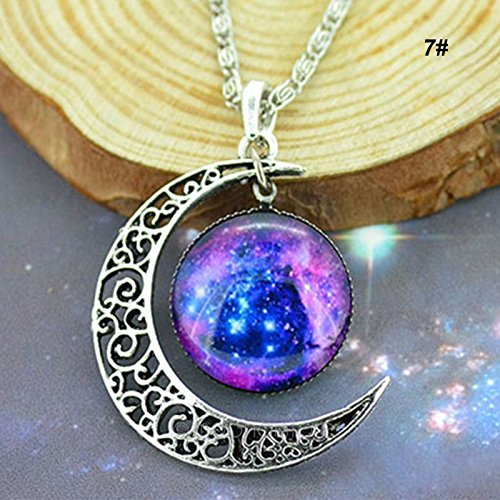 5starwarehouse Galaxy Pendant Silver Necklace Stars Colourful Glass Hollow Crescent Moon Space - With 5star Cloth (2)