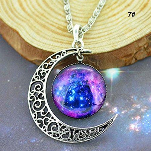 5starwarehouse® Halskette mit Anhänger in Galaxie-Optik, bunt, Glas, hohl, Halbmond, Weltraum – mit 5-Sterne-Tuch (2)