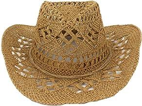Femmes//Hommes Chapeau Paille Creuse Hommes Ouest Cowboy Chapeau Gentleman D/ét/é Cowgirl Jazz Cap Papa Sombrero Plage Shell Chapeau Soleil XUJW-Chapeau