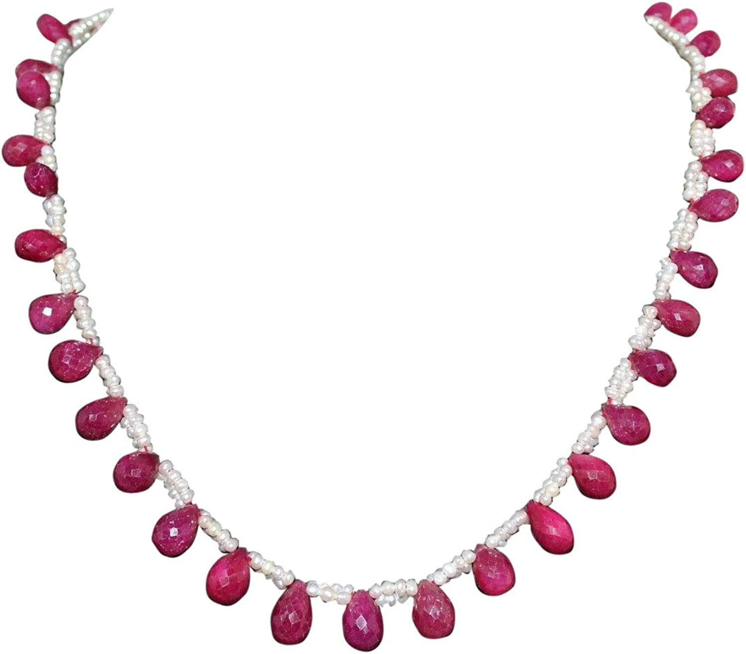 Rajasthan Gems Beautiful Real Ruby Drops and Pearls Beads Necklace Strand